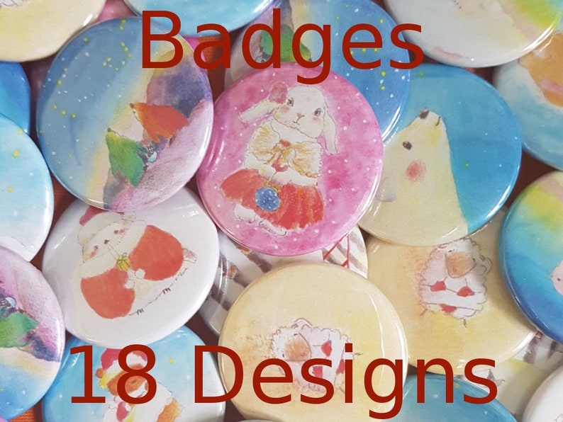 Mixed Illustrated 38mm Badges set of 1 2 or 4  18 types  image 0