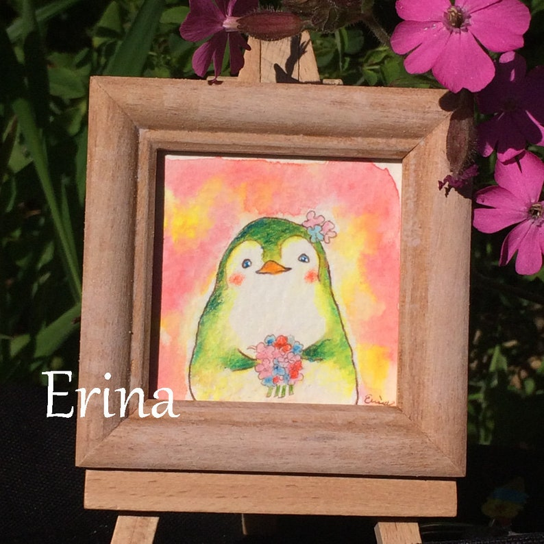 Happy Bride  幸せな花嫁  Penguin with Bouquet   Watercolour and image 0