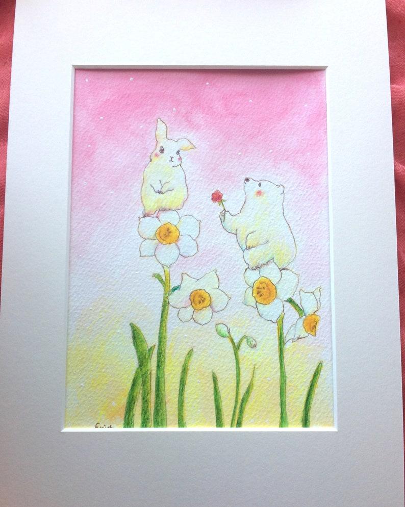 美しい君へ  For beautiful you  romantic bear on flower  image 0