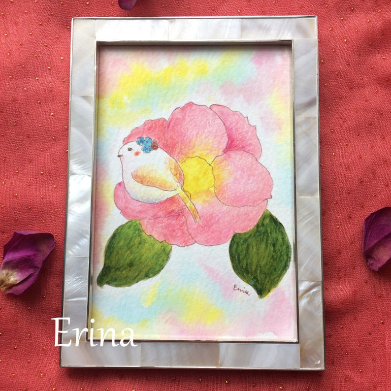 Beautiful as it is  そのままの美しさ  Bird on a pink Flower  image 0