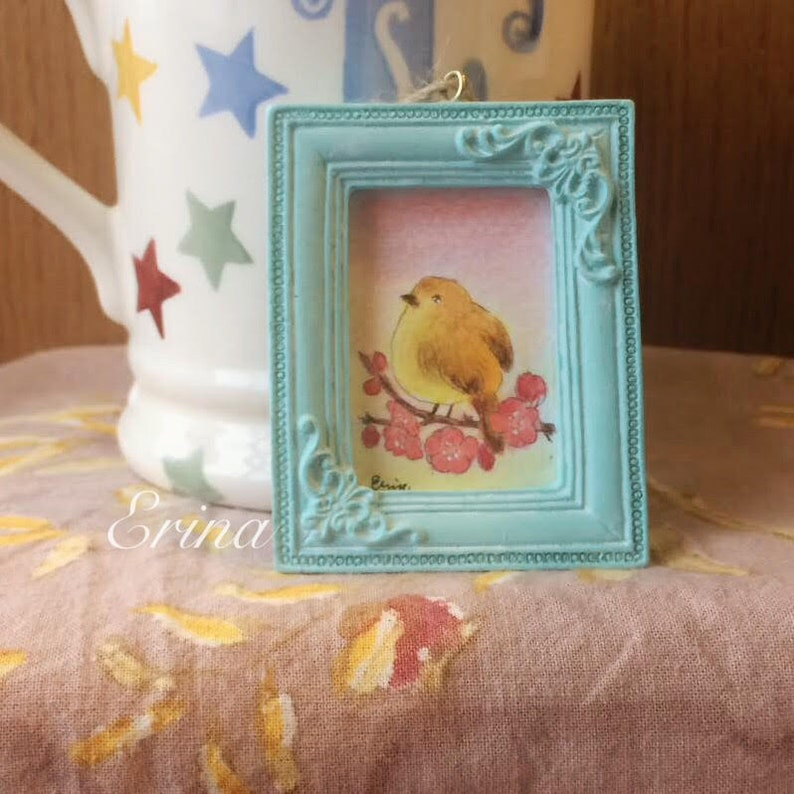 Spring is coming  春が来る  Bird on plum blossom  Watercolour image 0