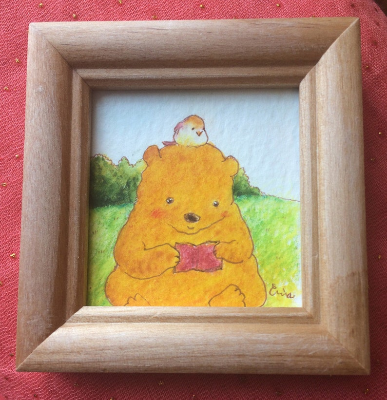 Me Time  僕だけの時間  Bear reading in the park  Watercolour and image 0