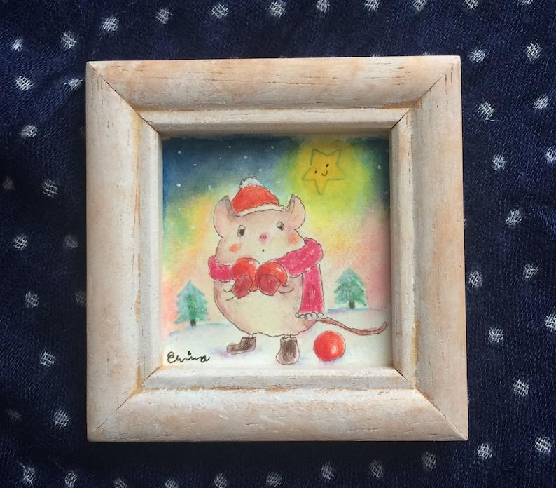 Christmas mouse  Watercolour and pencil  Original Mini image 0