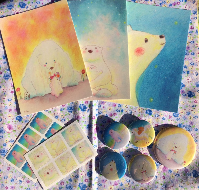 Bear Happy Bag No.3  bear postcards 38mm bear badges 57mm image 0
