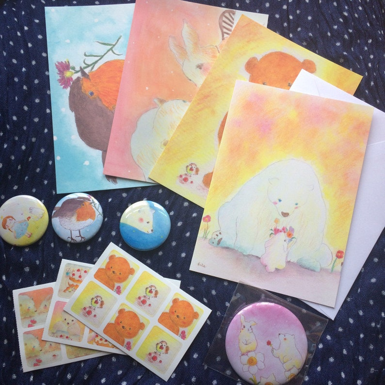Mixed Happy Bag  3 postcards 38mm badges 57mm mirror badge image 0