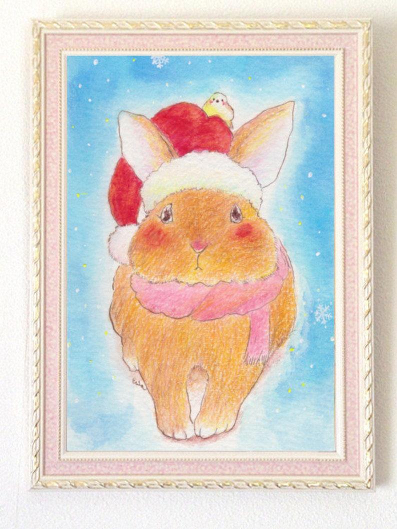 Santa rabbit  サンタうさぎさん  Christmas gift poster  A4 Poster image 0