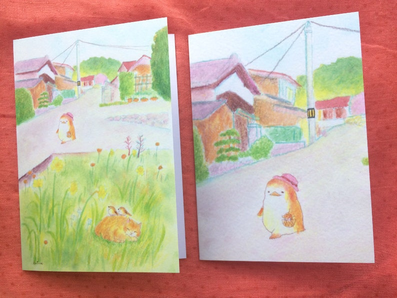 Cute Greeting cards  Asleep in the grass  Walking through my Both Cards