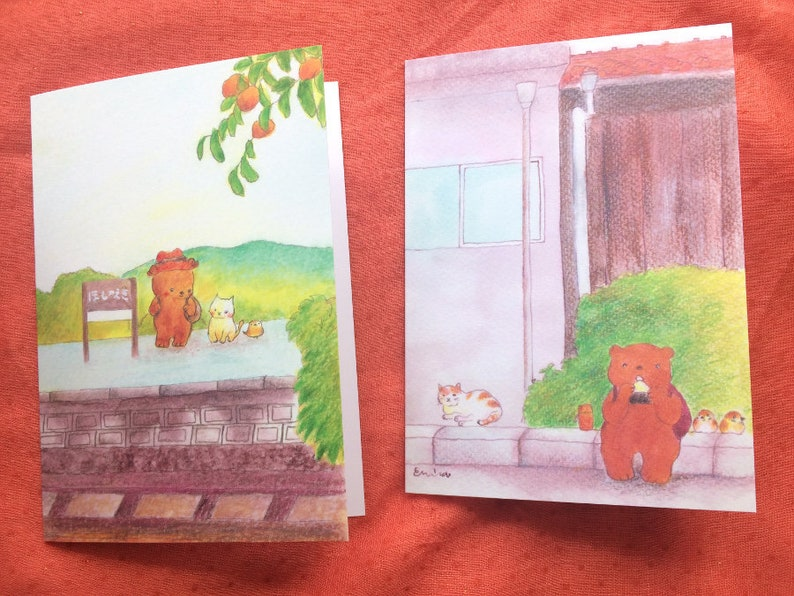 Cute Greeting cards  On the Platform  Taking a break  Free Both Cards
