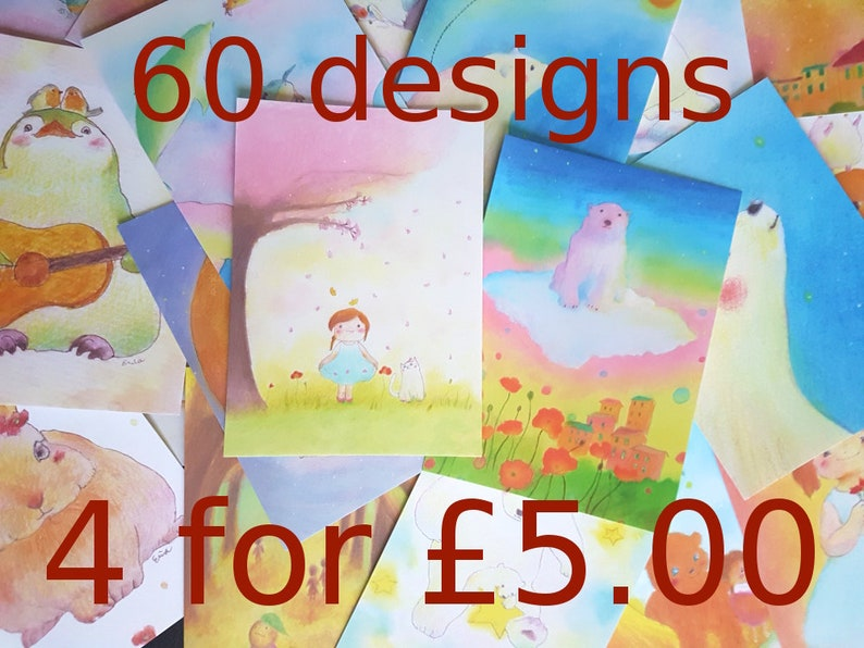 Art Postcard sets 4 10 or all 60  60 Designs by Erina  image 0