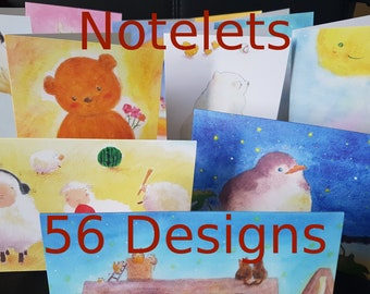 Art Notelet greeting cards (sets of 1, 2 or 4) - choose your own notecard set - 56 design pick and mix