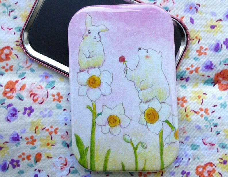 Romantic bear and rabbit  ロマンチックなクマ  Romantic Fridge Magnet image 0
