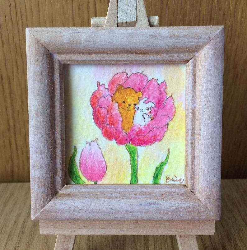 True Love Tulip  チューリップ真実の愛  Bear and rabbit in a tulip  image 0
