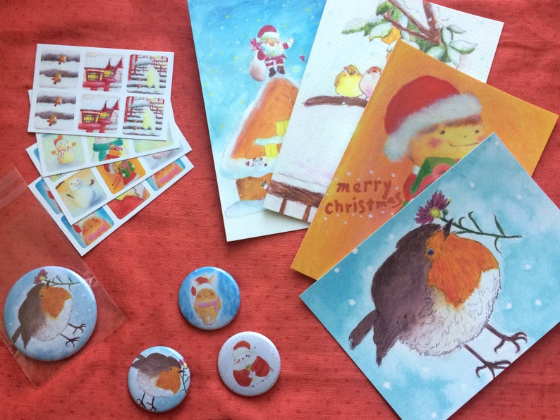 Christmas Art Happy Bag Robin  Christmas postcards 38mm image 0