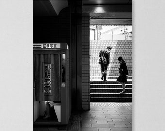 Fine Art Photography and City Photography of Yokohama, Japan. Street Photography in Black and White Giclee Print of Cityscape for Wall Decor