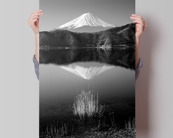 Fine Art Prints of Landscape Photography: Fuji Mountain, Japan. Black and White Nature Photography of Peaceful Mount Fuji for Room Art Decor