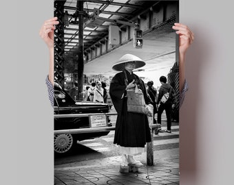 Fine Art Photography and Street Photography in Tokyo, Japan. Black and White Cityscape with Monk for Wall Art and Fine Art Giclee Prints