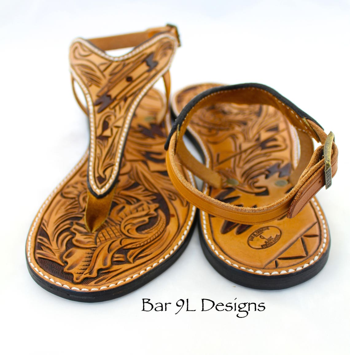 Tooled Leather Y-Strap Sandal with Buckle