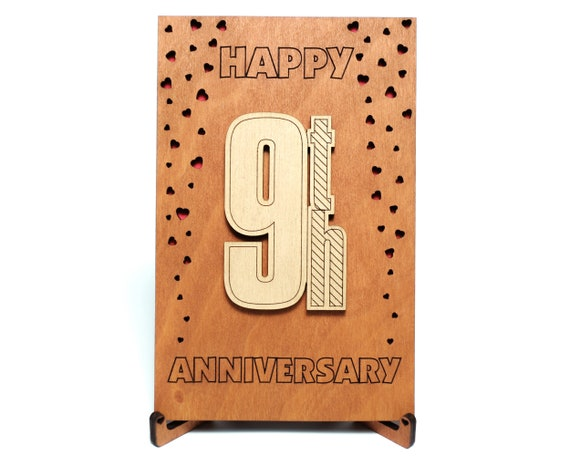 Happy 9th Anniversary Card Gift For Nine Years Ninth 9 Year Etsy