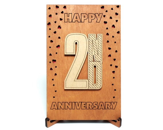 Happy 2nd Anniversary Card Gift For Two Years Second 2 Year Etsy