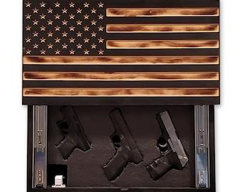 Burnt Sliding Fully Carved American Flag Concealment Cabinet