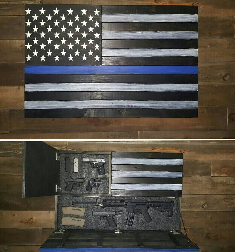f0a83a07334 Large Thin Blue Line Concealed Weapon Flag Cabinet
