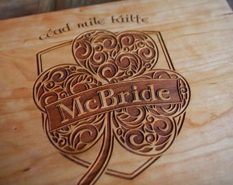 d1e3423f Celtic design, Cead Mile Failte, Irish gift engagement, engraved wood  cutting board, birthday, shamrock, anniversary, wedding, housewarming