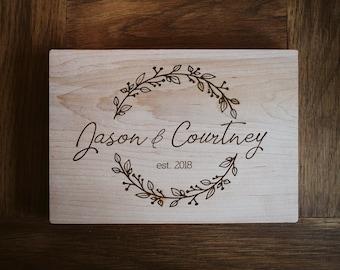 Jason & Courtney design floral botanical laurels cutting board, housewarming,  engagement,  wedding, kitchen gift, shower,  couples