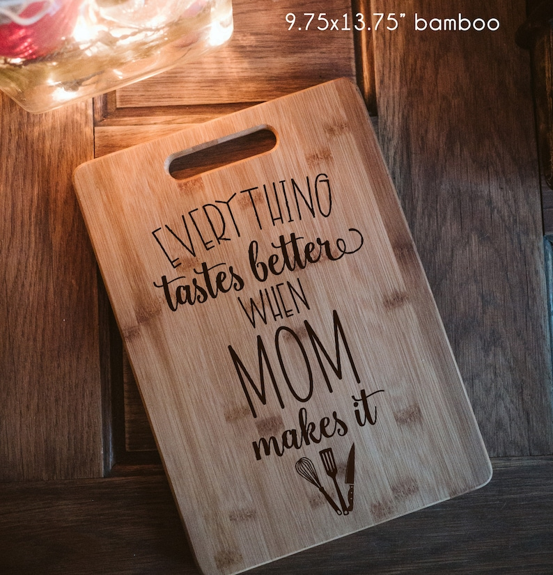 Another useful kitchen gift you can prepare for mommy this mother's day is a personalized cutting board. An old cutting board is not good for health and in some cases, it can lead to danger for mom. Buy mom this unique gift to prevent unexpected things and show how you care and how you look forward to her food every day.