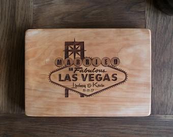 Las Vegas Wedding design cutting board  shower, housewarming, engraved wood cutting board, wedding gift engagement