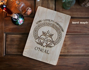 Irish Claddagh engraved wood cutting board, butcher block, gift for her, anniversary gift, corporate gift, wedding gift, housewarming gift