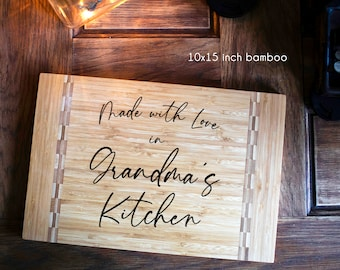 Made with Love in Grandma's Kitchen cutting board gift for Grandma, Nonna, Nanna, Mom, Mothers Day gift, kitchen, affordable gift