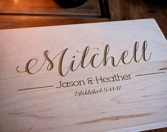 Wedding gift Family name unique gift, engagement, engraved cutting board,  anniversary,  housewarming, heirloom cutting board