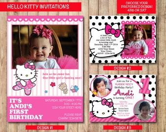 Printable Hello Kitty Birthday Invitation, Personalized Hello Kitty Birthday Invitation, Custom Hello Kitty Invitation - 4X6 or 5X7