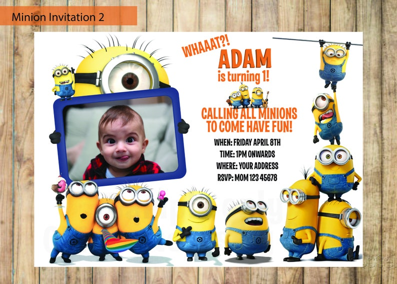 Minion Invitation Despicable Me Invitation Printable Etsy