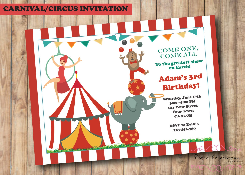 Carnival Invitations Circus Invitations Ticket Invitations | Etsy