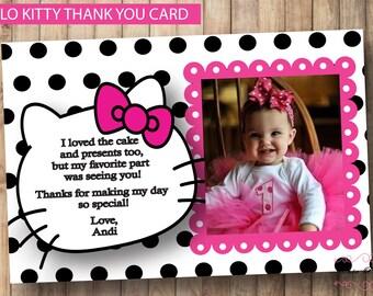 Hello Kitty Thank You Card * Printable Birthday Party * Digital Thank You Card* Personalized Thank You Card * Hello Kitty