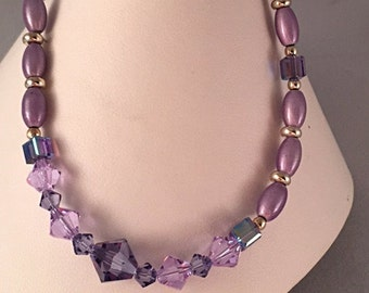 Tanzanite Purple Lilac Swarovski Crystal Martini CZ Charm Bracelet