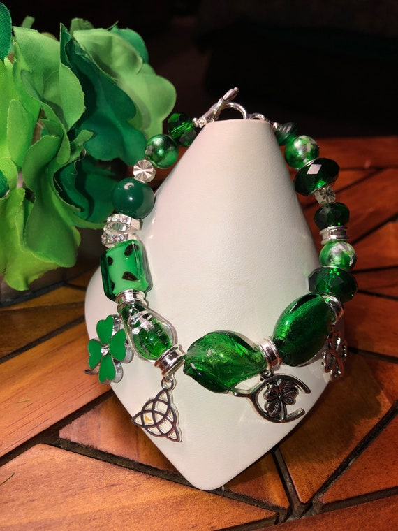 Shamrock Silver Plated Clip Charm for bracelets phone purse lucky green clover