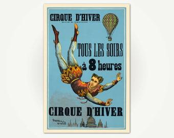 Cirque d'Hiver (Winter Circus) French Circus Poster Print - Cirque D'hiver, Tous Les Soirs à 8 Heures Vintage Acrobat Poster Art