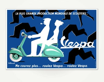 Vintage French Vespa Scooter Poster Print - Mid-Century Vespa Advertising Poster Art