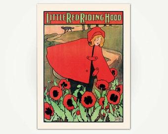 Little Red Riding Hood Vintage Children's Book Illustration Print