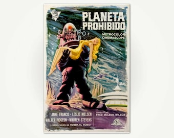 Classic Science Fiction Movie Poster Print - Forbidden Planet / Planeta Prohibido Vintage Sci-Fi Film Poster Art from Spain