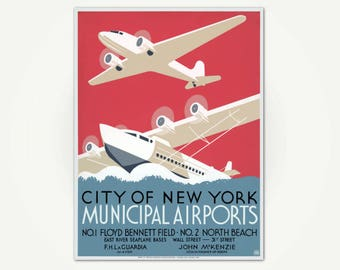 City of New York Municipal Airports Poster Print - Vintage Art Deco Travel Poster Art - 1930's WPA Poster