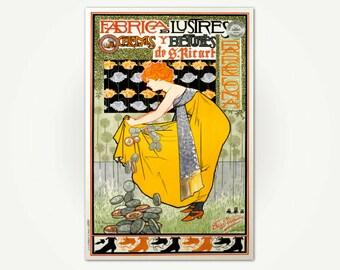 Vintage Art Nouveau Poster - Fábrica de lustres cremas y betunes de S. Ricart