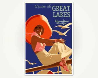 Cruise The Great Lakes Vintage Travel Poster Print - Canadian Pacific Poster Art - Vintage Great Lakes Poster Print