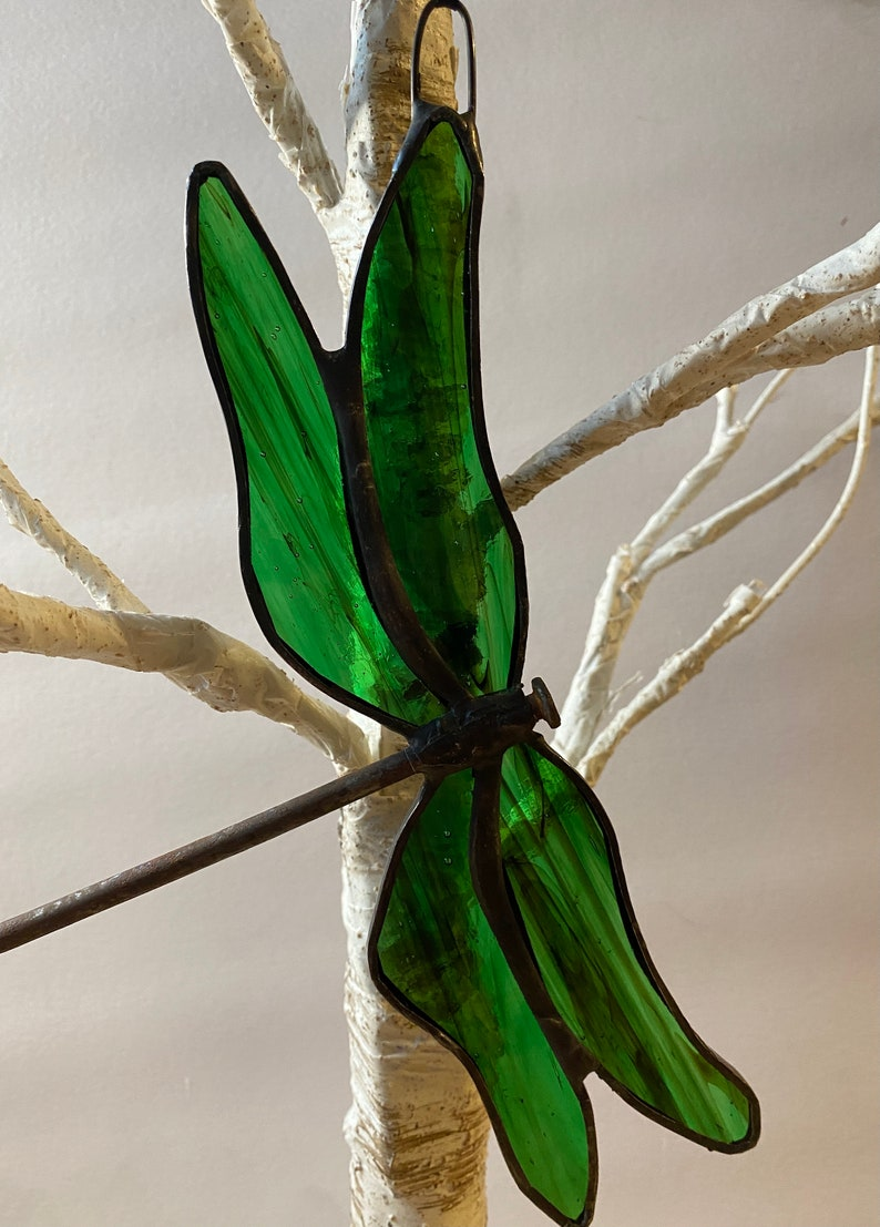 Green Stained Glass Dragonfly Dragon Fly Transformation with Recycled Nail