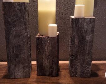Reclaimed Oak Barnwood- Stands, set of three