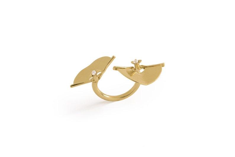 84110fbe3 Double Finger Ring Open Ring Modern Ring Half Moon Ring   Etsy