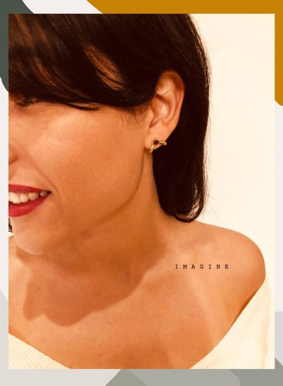 Gold Plated Earring Gold Stud Earrings Geometric Earring Modern Earrings Israeli Jewelry Minimalist earrings Black Stone Earrings