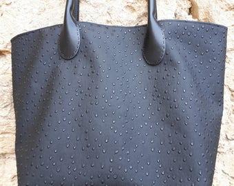bag black faux leather, lined Pocket